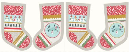 Lewis & Irene - Snow Day - 5999 - Stocking Panel on Grey - C39.2 - Cotton Fabric